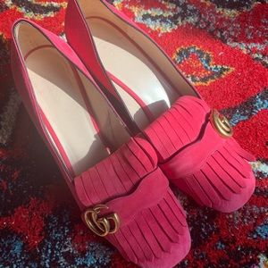Pink Gucci Marmont logo block heel pumps size 39.5